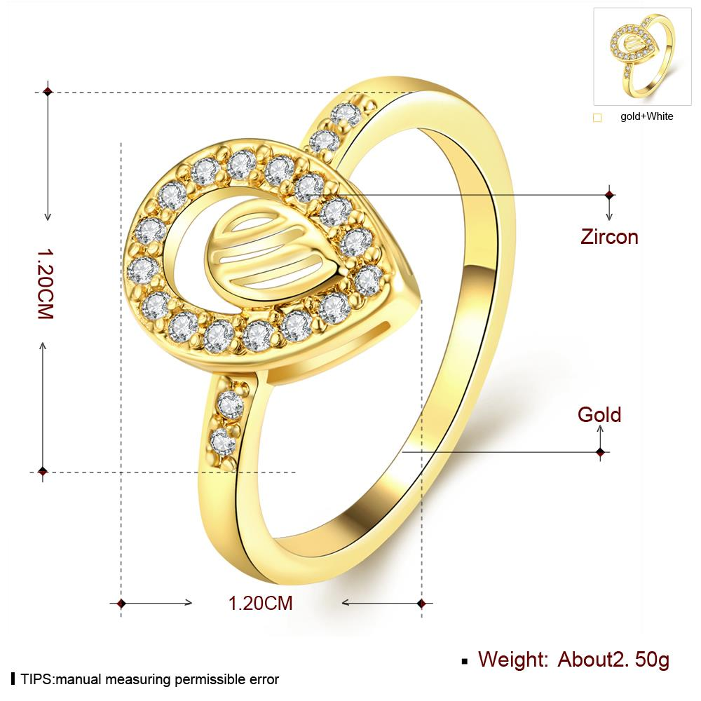 Wholesale Trendy 24K Gold Water Drop White CZ Ring TGGPR1361 0