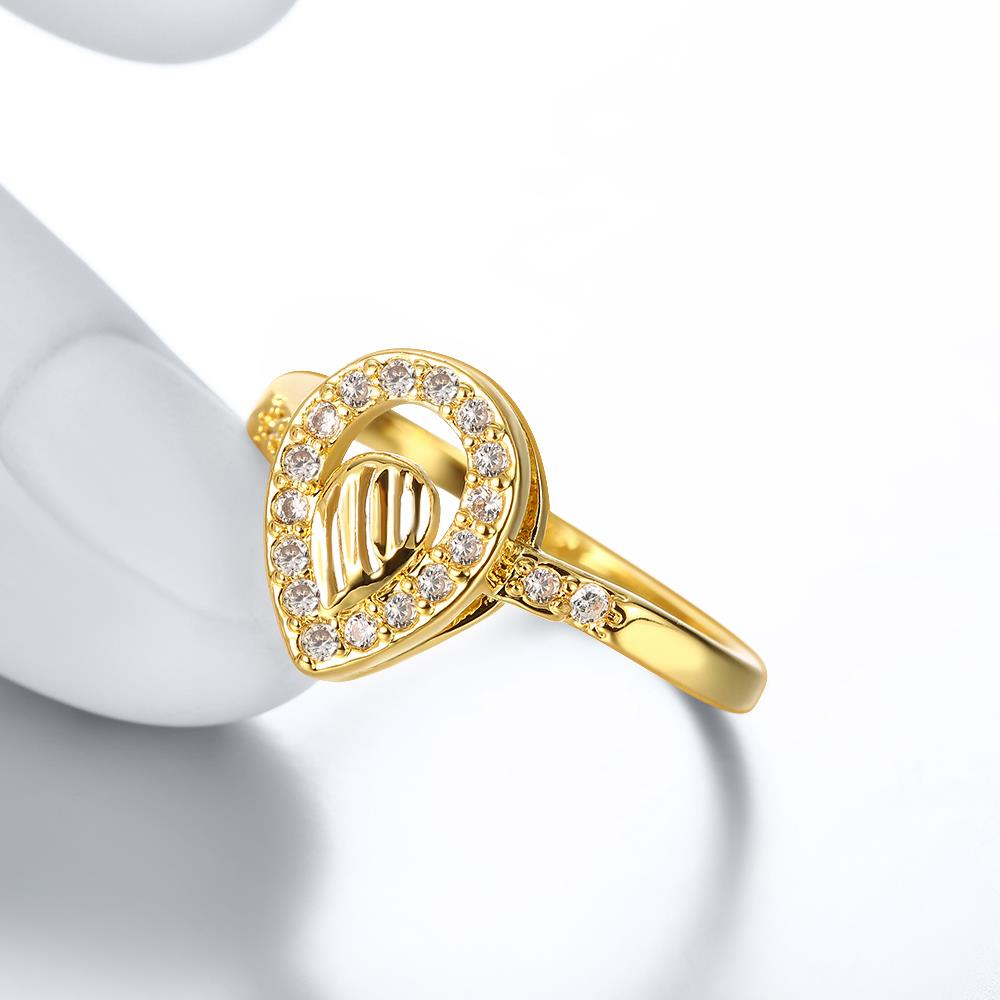 Wholesale Trendy 24K Gold Water Drop White CZ Ring TGGPR1361 3