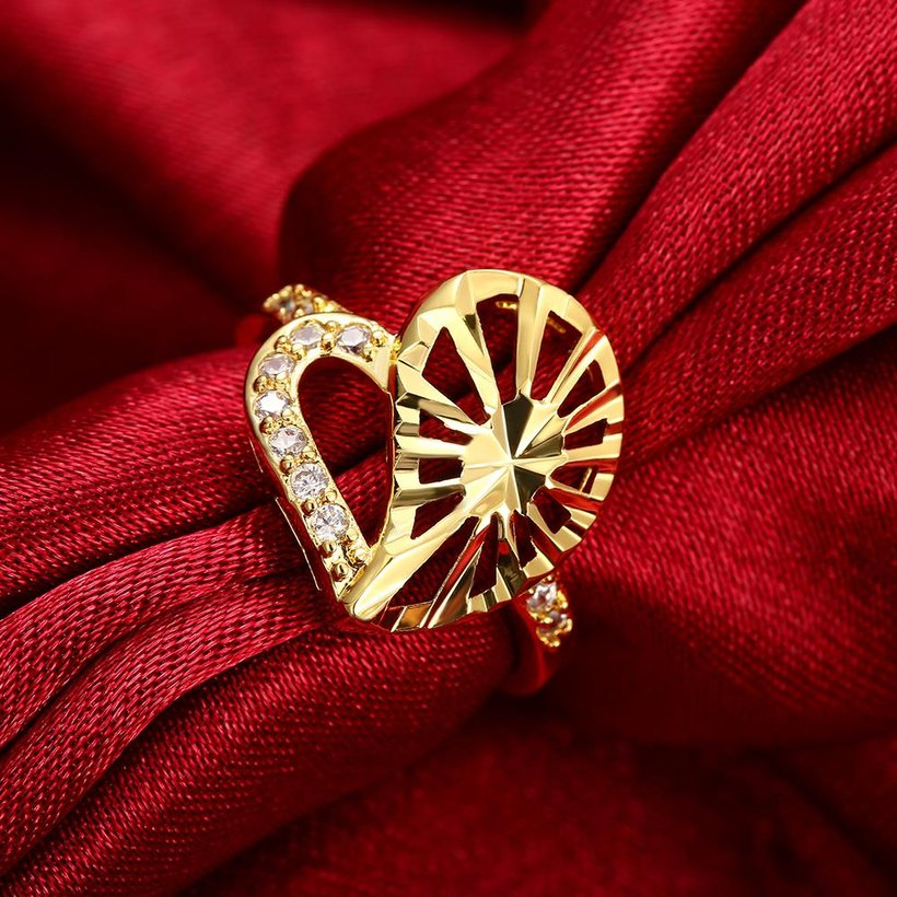 Wholesale Trendy 24K Gold Heart White CZ Ring TGGPR1381 0