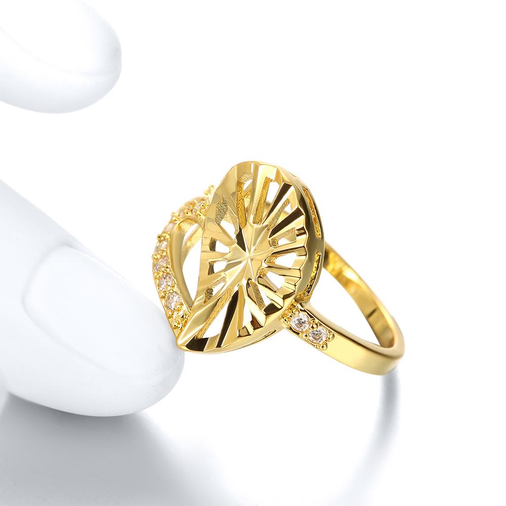 Wholesale Trendy 24K Gold Heart White CZ Ring TGGPR1381 1