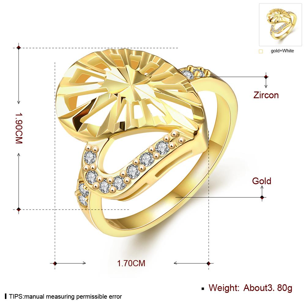 Wholesale Trendy 24K Gold Heart White CZ Ring TGGPR1381 2