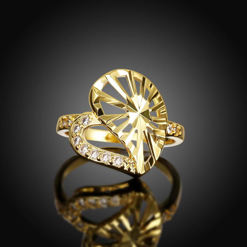 Wholesale Trendy 24K Gold Heart White CZ Ring TGGPR1381 3
