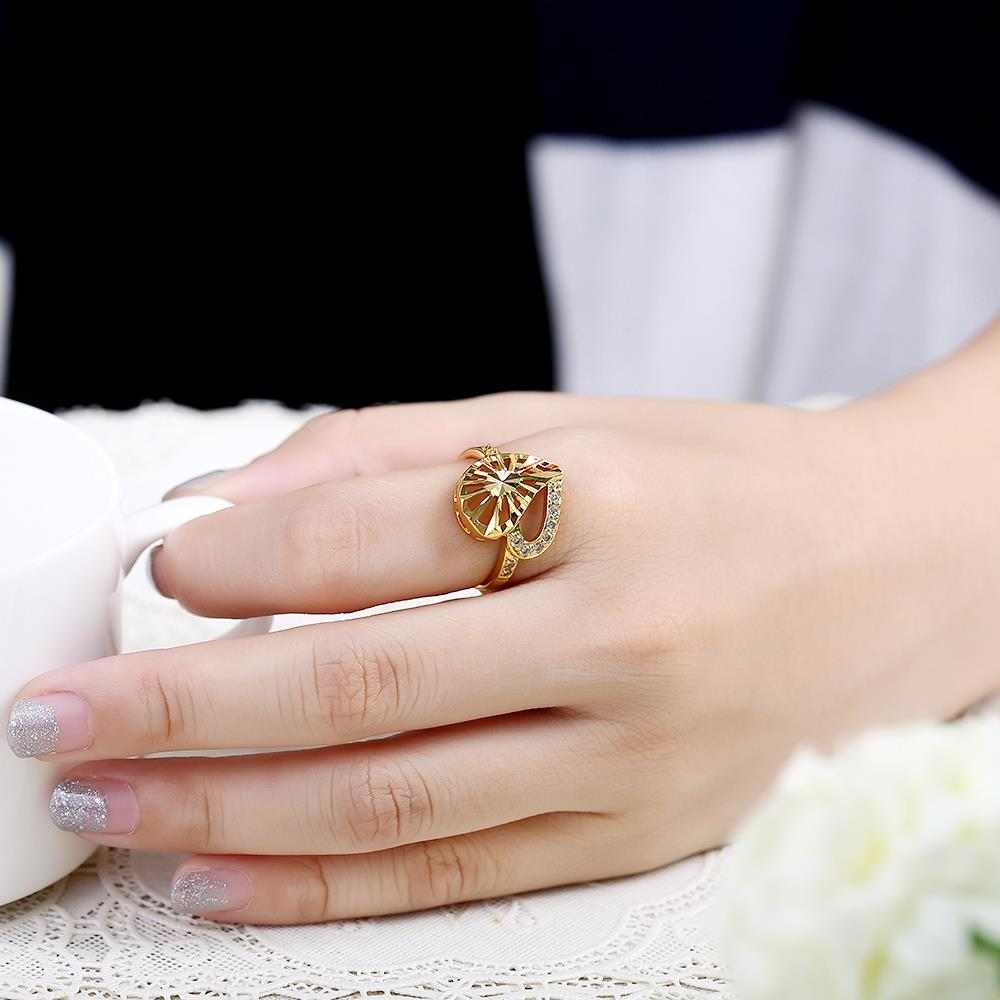 Wholesale Trendy 24K Gold Heart White CZ Ring TGGPR1381 4