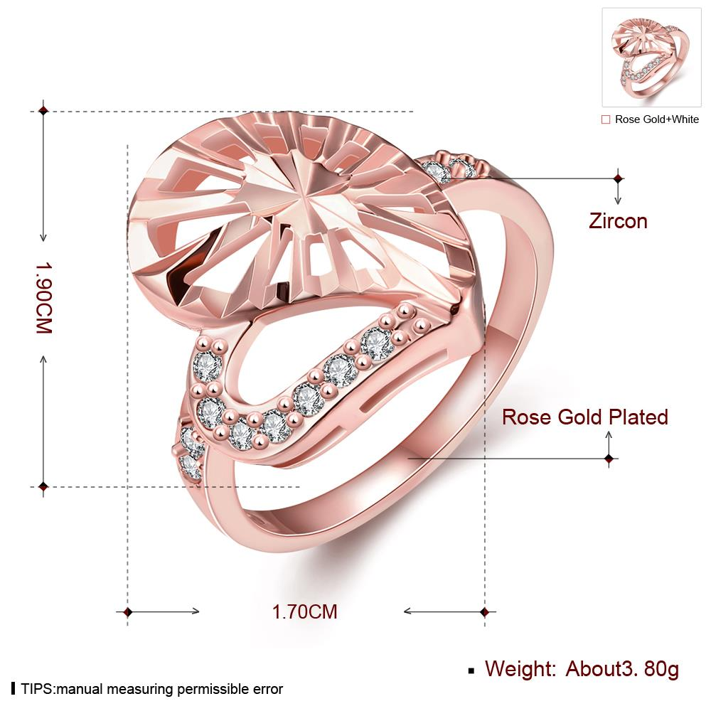 Wholesale Trendy Rose Gold Heart White CZ Ring TGGPR1385 0