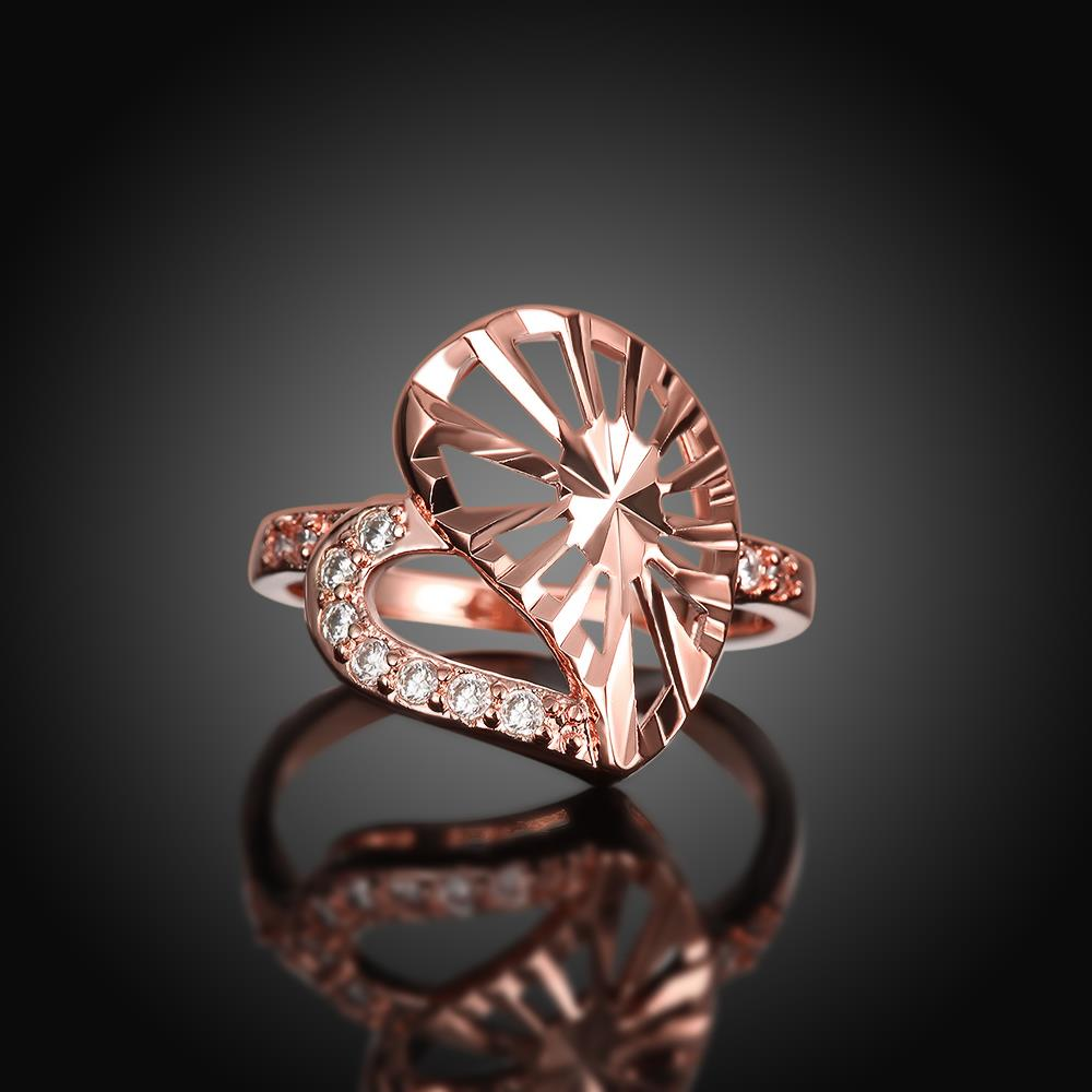 Wholesale Trendy Rose Gold Heart White CZ Ring TGGPR1385 4