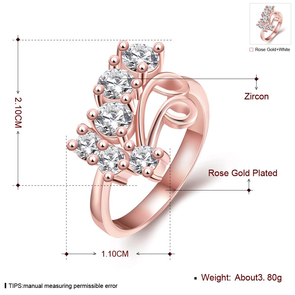 Wholesale Classic Rose Gold Geometric White CZ Ring TGGPR1407 0