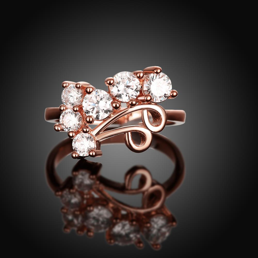 Wholesale Classic Rose Gold Geometric White CZ Ring TGGPR1407 1