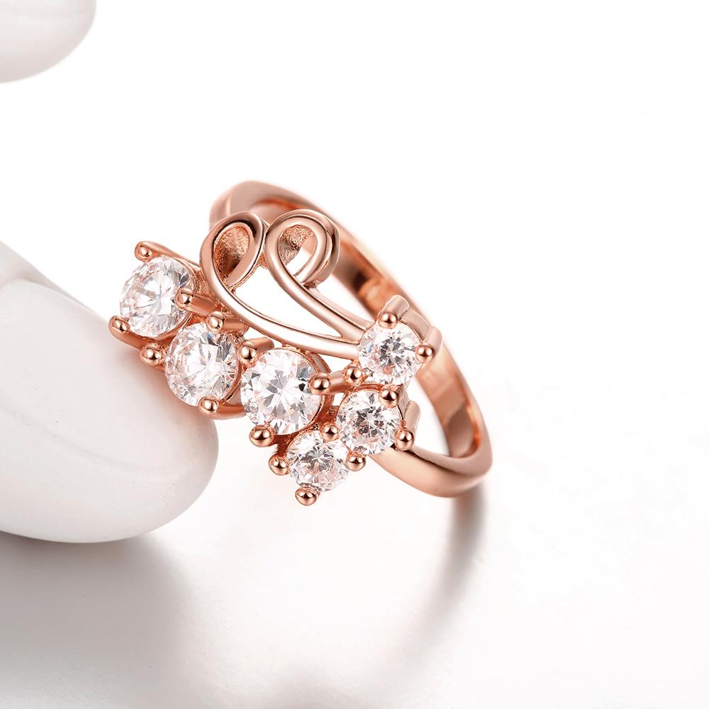Wholesale Classic Rose Gold Geometric White CZ Ring TGGPR1407 3