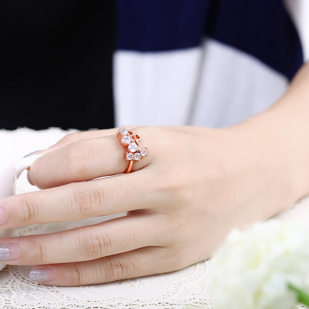Wholesale Classic Rose Gold Geometric White CZ Ring TGGPR1407 4