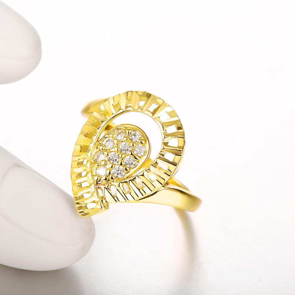 Wholesale Trendy 24K Gold Water Drop White CZ Ring TGGPR1414 1