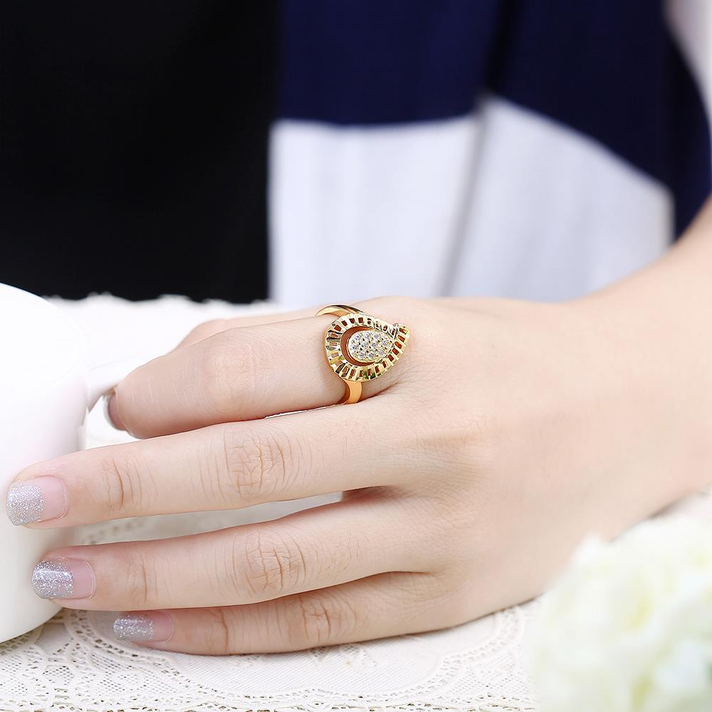 Wholesale Trendy 24K Gold Water Drop White CZ Ring TGGPR1414 2
