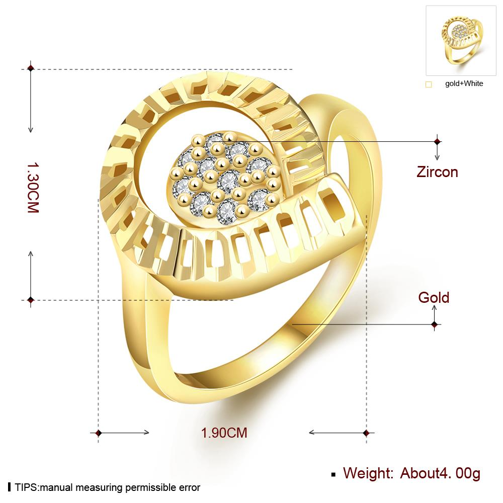 Wholesale Trendy 24K Gold Water Drop White CZ Ring TGGPR1414 3