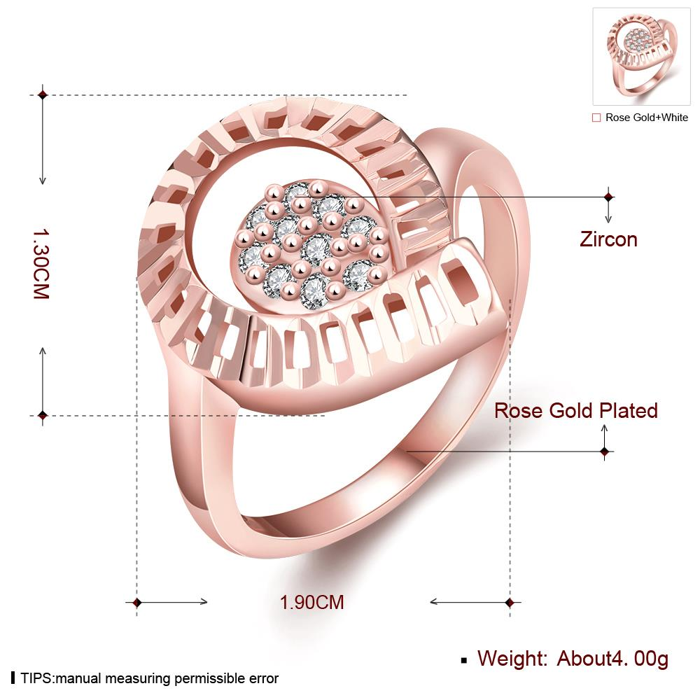 Wholesale Trendy Rose Gold Water Drop White CZ Ring TGGPR1422 1