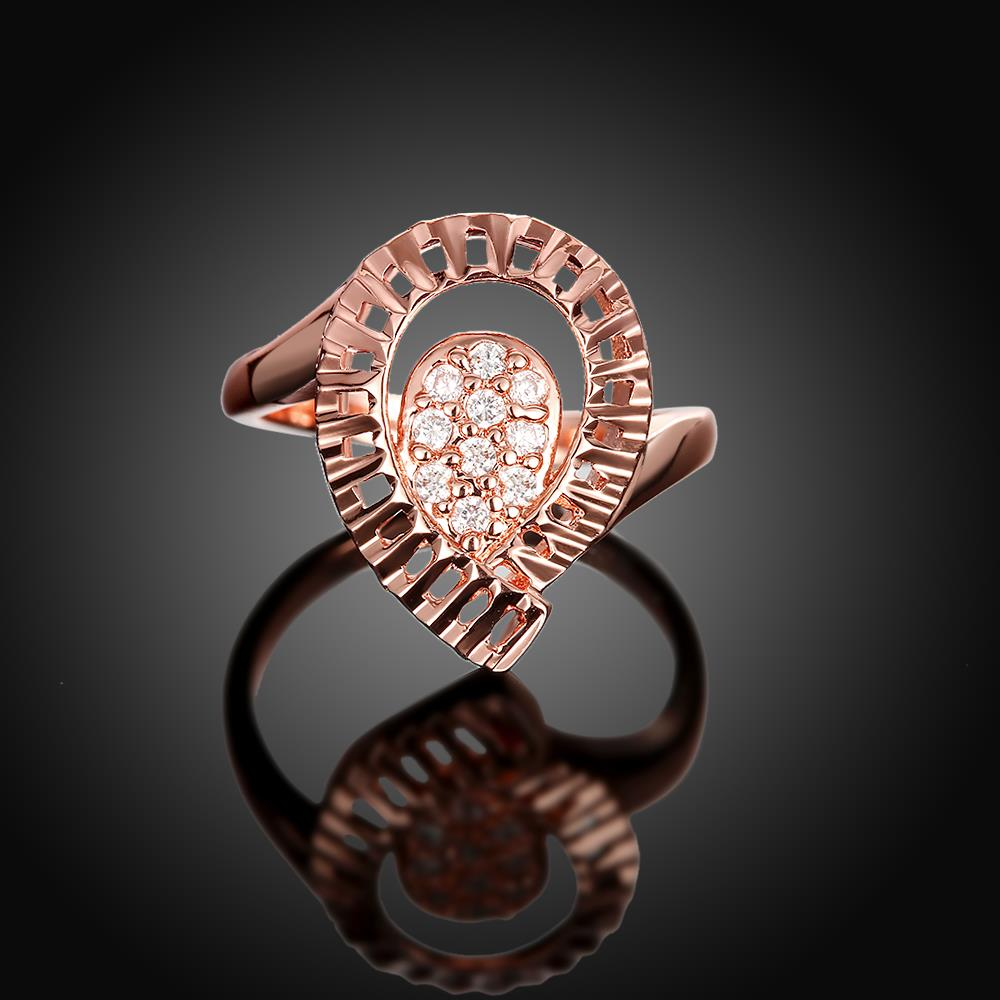 Wholesale Trendy Rose Gold Water Drop White CZ Ring TGGPR1422 2