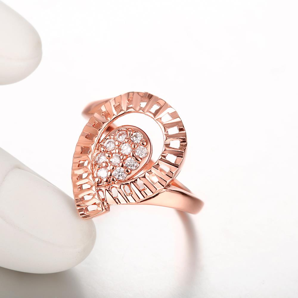Wholesale Trendy Rose Gold Water Drop White CZ Ring TGGPR1422 3