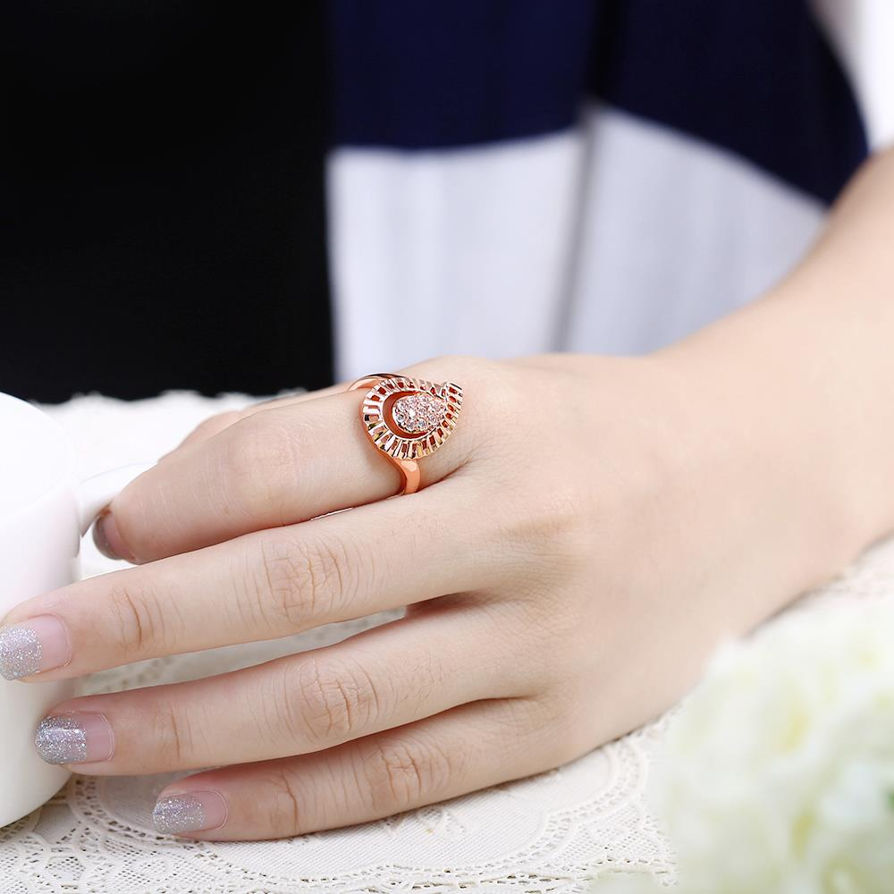 Wholesale Trendy Rose Gold Water Drop White CZ Ring TGGPR1422 4