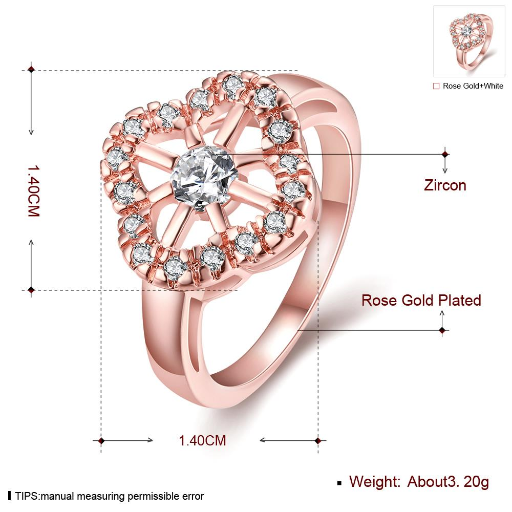 Wholesale Romantic Rose Gold Plant White CZ Ring TGGPR1438 0