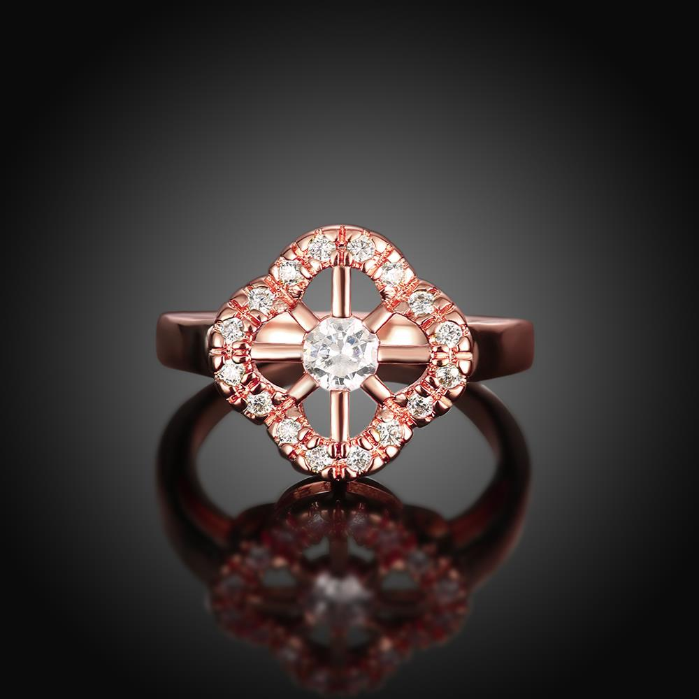 Wholesale Romantic Rose Gold Plant White CZ Ring TGGPR1438 1
