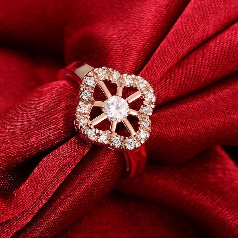 Wholesale Romantic Rose Gold Plant White CZ Ring TGGPR1438 2