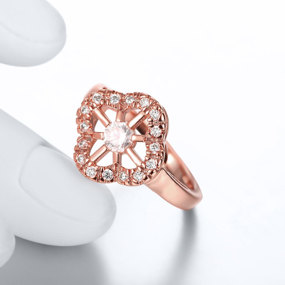 Wholesale Romantic Rose Gold Plant White CZ Ring TGGPR1438 3