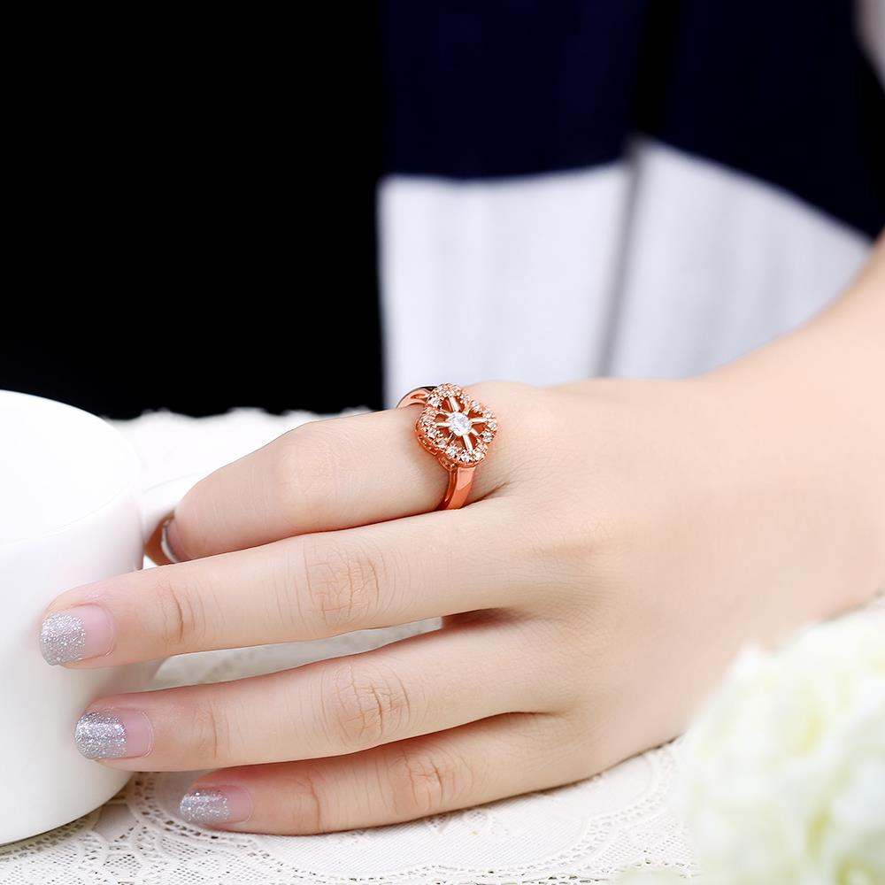 Wholesale Romantic Rose Gold Plant White CZ Ring TGGPR1438 4