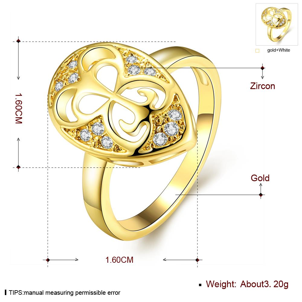 Wholesale Classic 24K Gold Water Drop White CZ Ring TGGPR1446 1