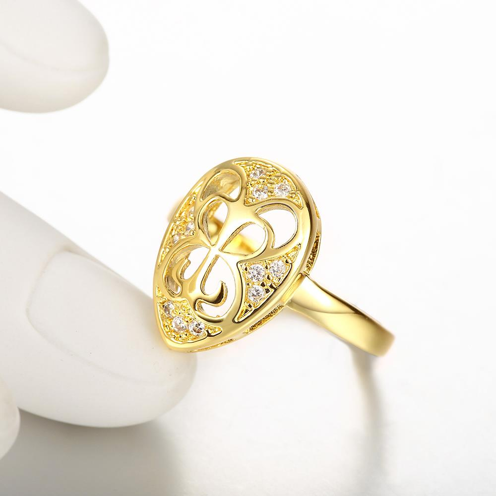 Wholesale Classic 24K Gold Water Drop White CZ Ring TGGPR1446 3