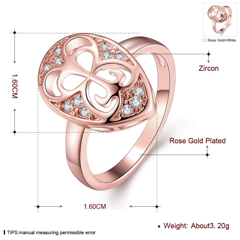 Wholesale Classic Rose Gold Water Drop White CZ Ring TGGPR1454 0