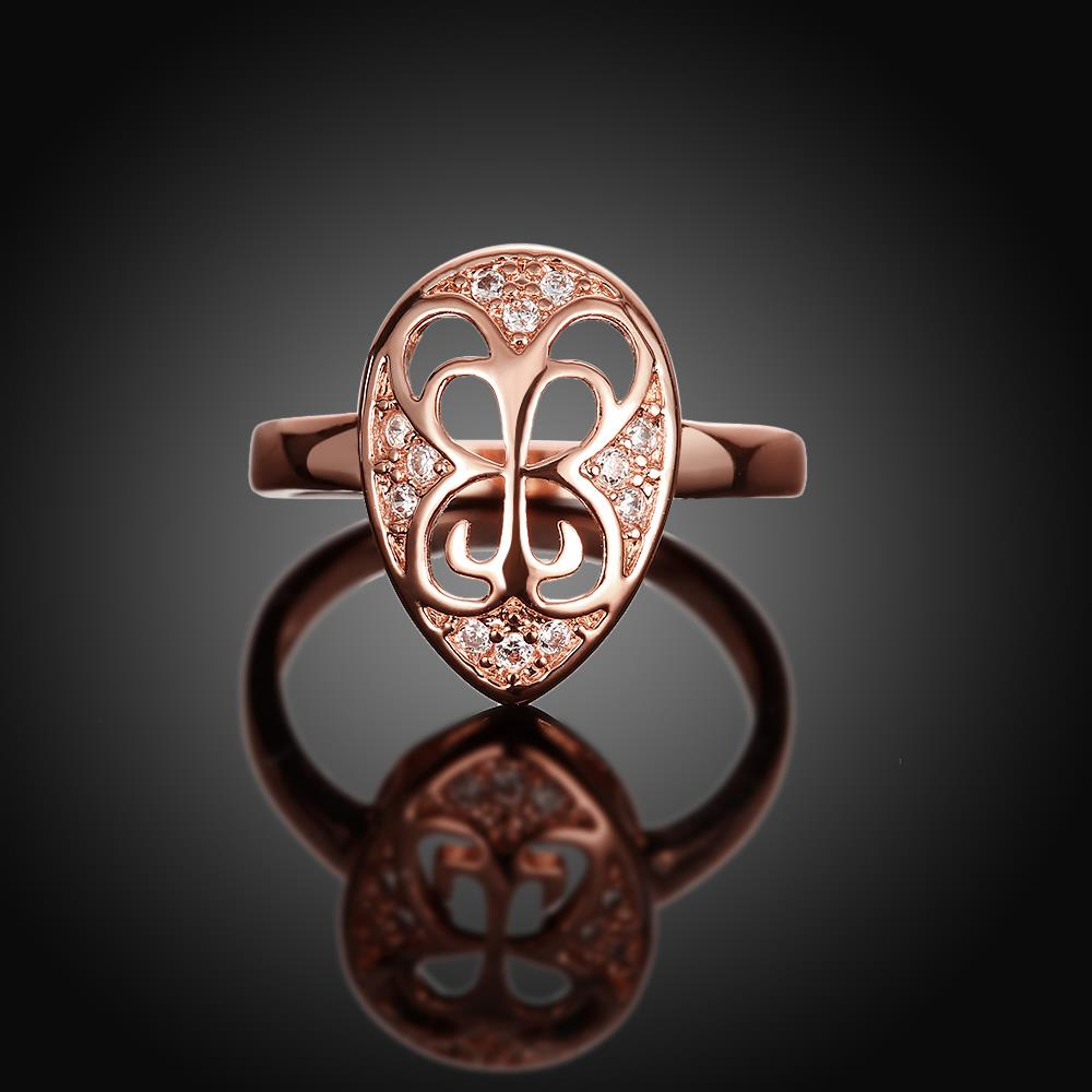 Wholesale Classic Rose Gold Water Drop White CZ Ring TGGPR1454 1