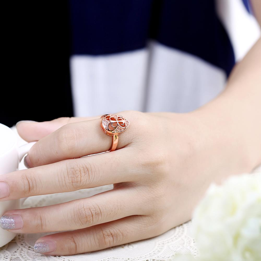 Wholesale Classic Rose Gold Water Drop White CZ Ring TGGPR1454 4