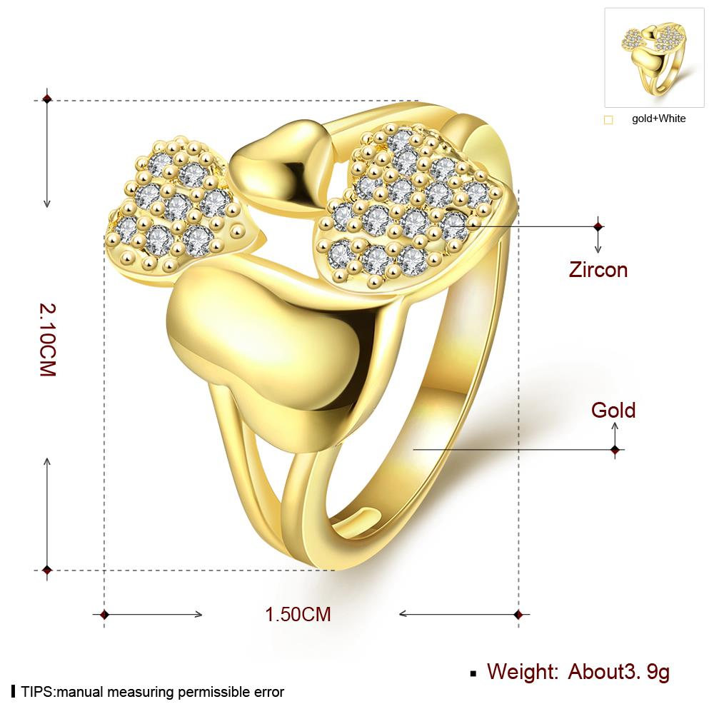 Wholesale Trendy 24K Gold Heart White CZ Ring TGGPR224 0