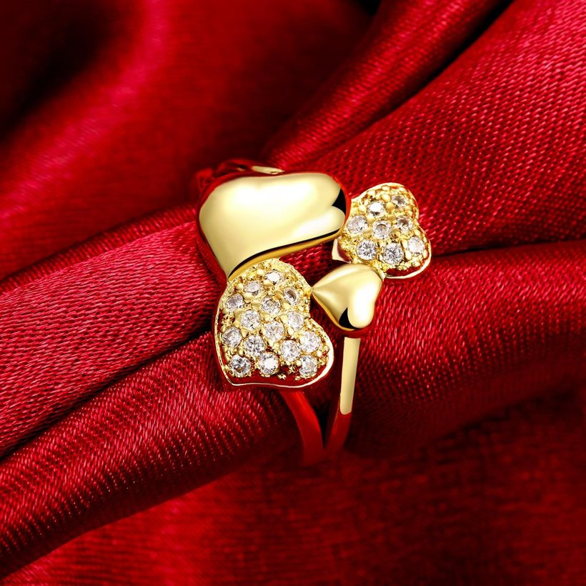 Wholesale Trendy 24K Gold Heart White CZ Ring TGGPR224 1