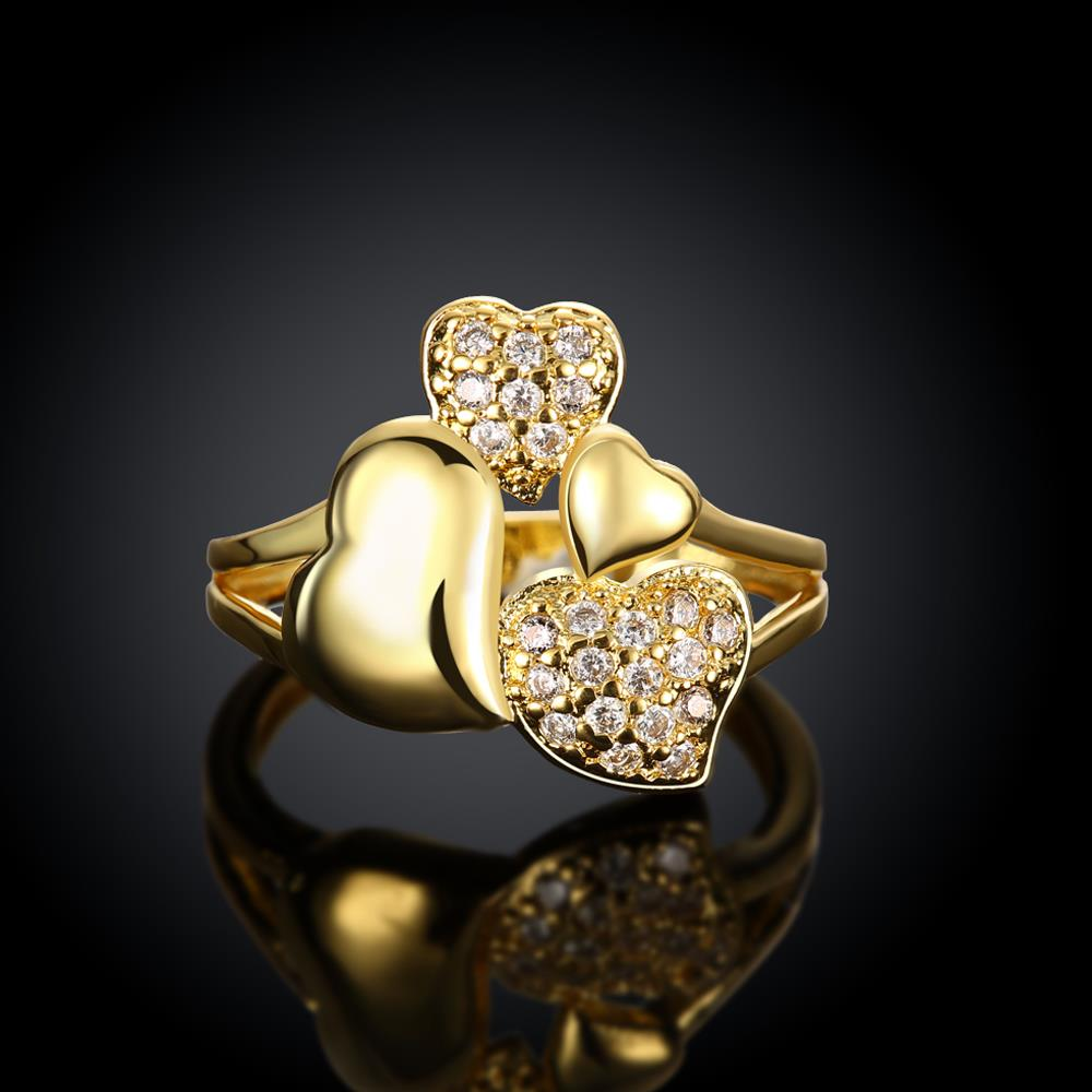 Wholesale Trendy 24K Gold Heart White CZ Ring TGGPR224 3
