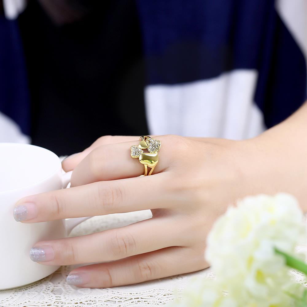 Wholesale Trendy 24K Gold Heart White CZ Ring TGGPR224 4