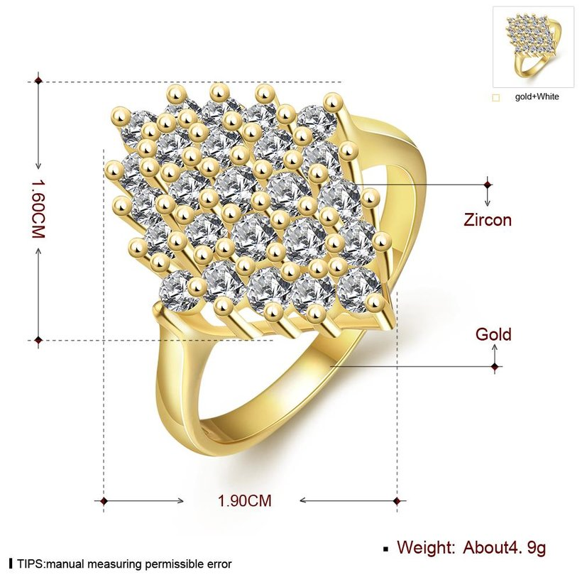 Wholesale Classic 24K Gold Geometric White CZ Ring TGGPR245 0