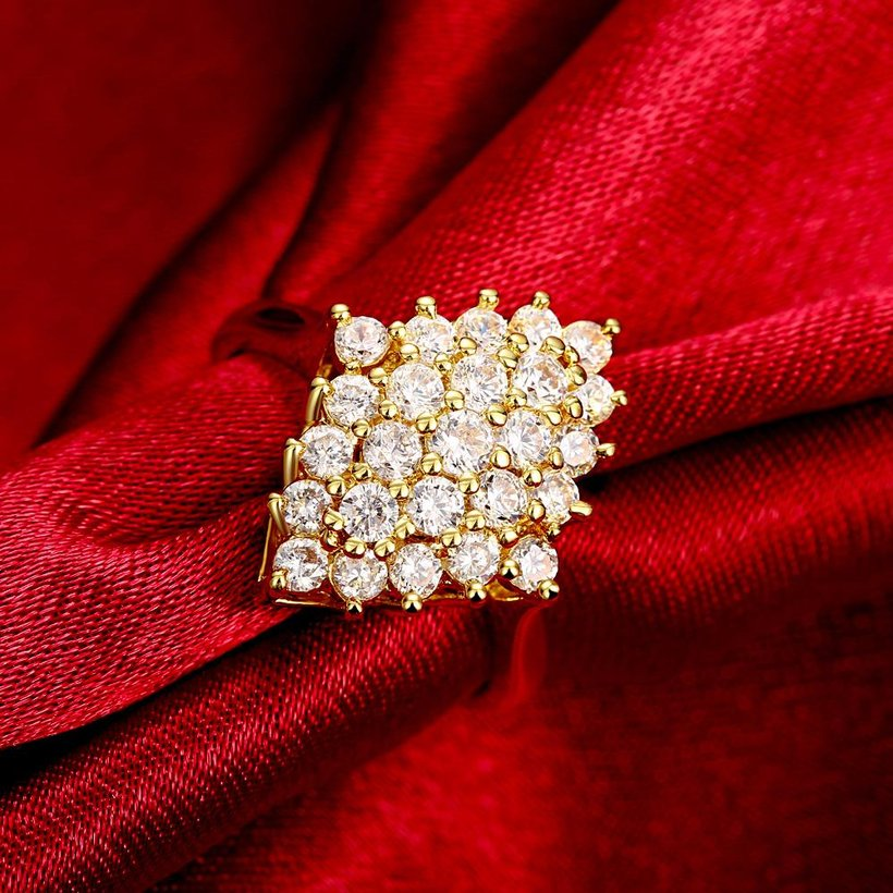 Wholesale Classic 24K Gold Geometric White CZ Ring TGGPR245 1