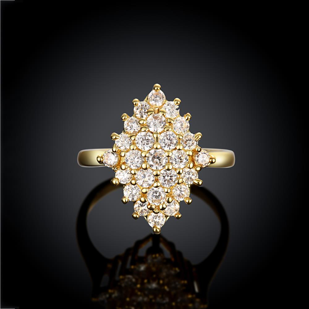 Wholesale Classic 24K Gold Geometric White CZ Ring TGGPR245 2