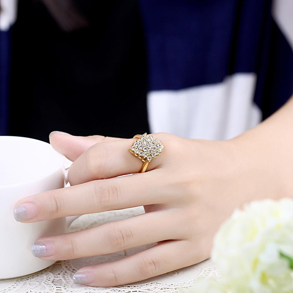 Wholesale Classic 24K Gold Geometric White CZ Ring TGGPR245 4