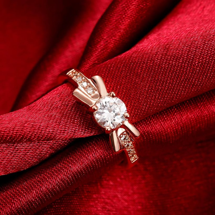 Wholesale Trendy Rose Gold Geometric White CZ Ring TGGPR259 0