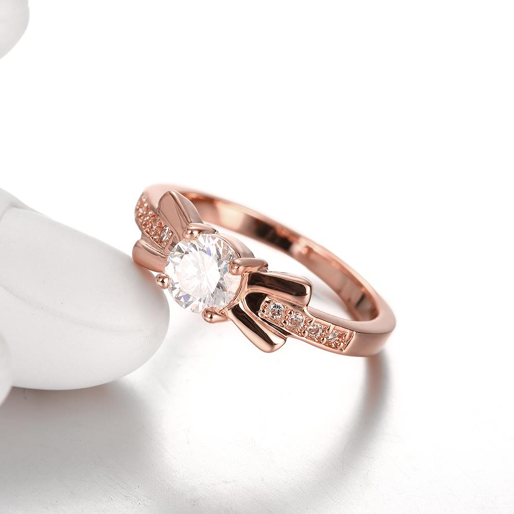 Wholesale Trendy Rose Gold Geometric White CZ Ring TGGPR259 1