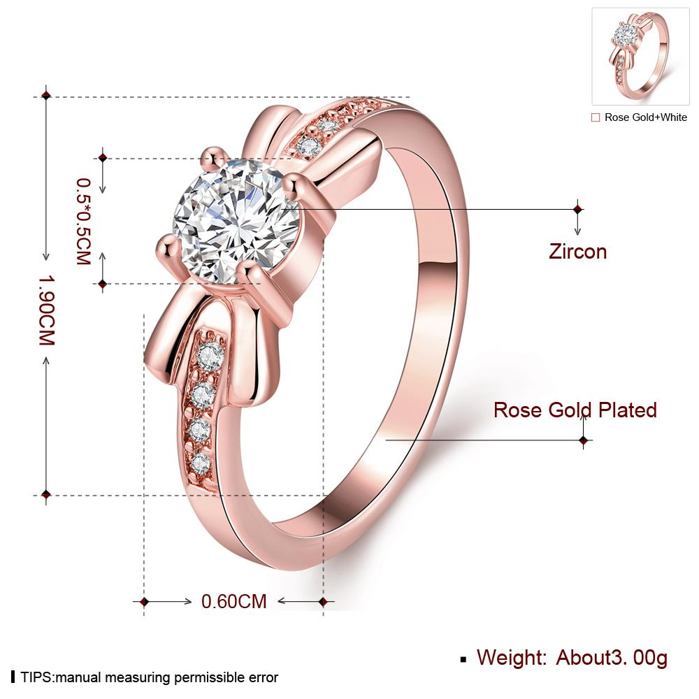 Wholesale Trendy Rose Gold Geometric White CZ Ring TGGPR259 3