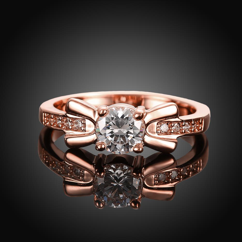 Wholesale Trendy Rose Gold Geometric White CZ Ring TGGPR259 4