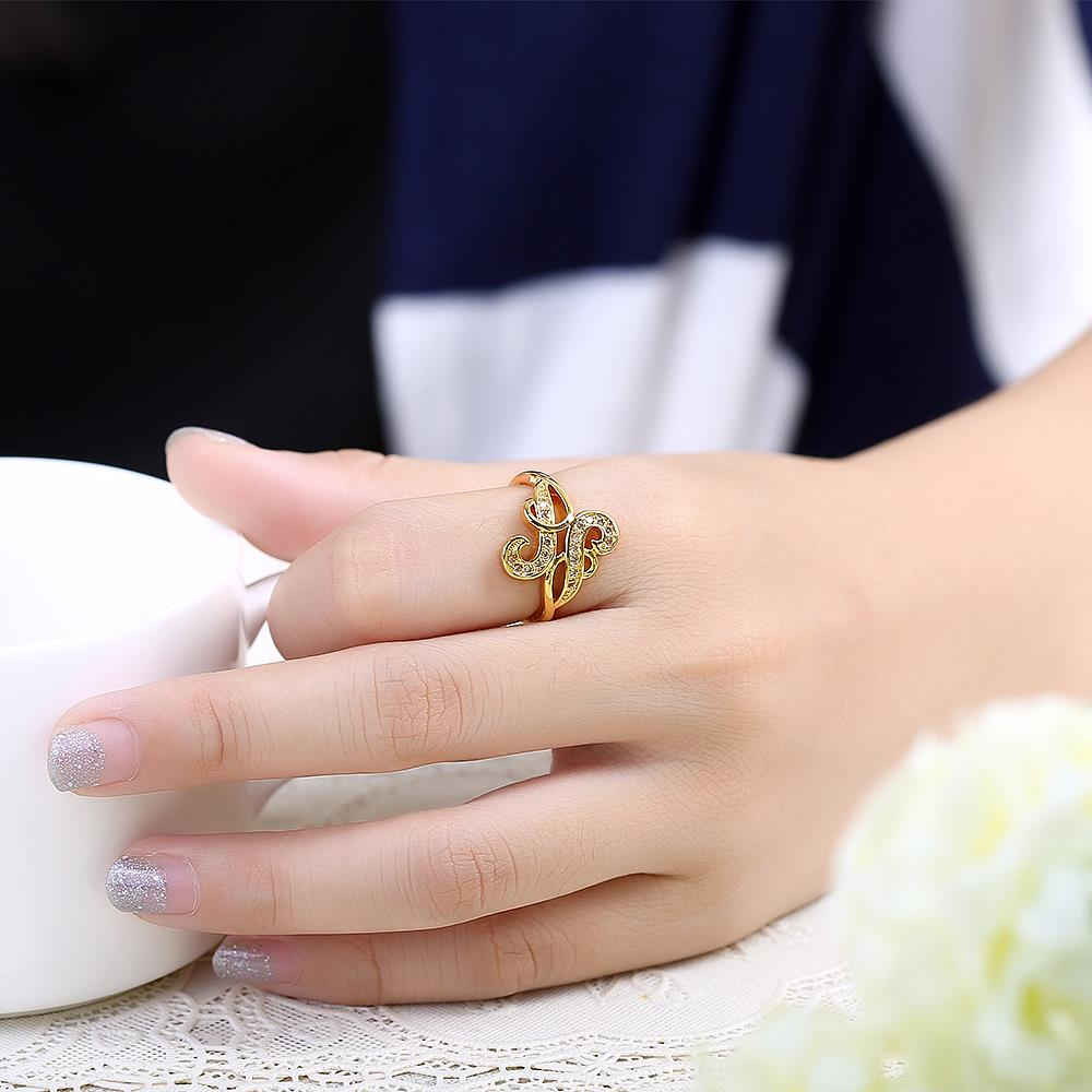 Wholesale Trendy 24K Gold Geometric White CZ Ring TGGPR265 2