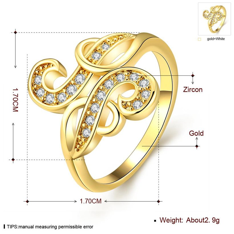Wholesale Trendy 24K Gold Geometric White CZ Ring TGGPR265 3