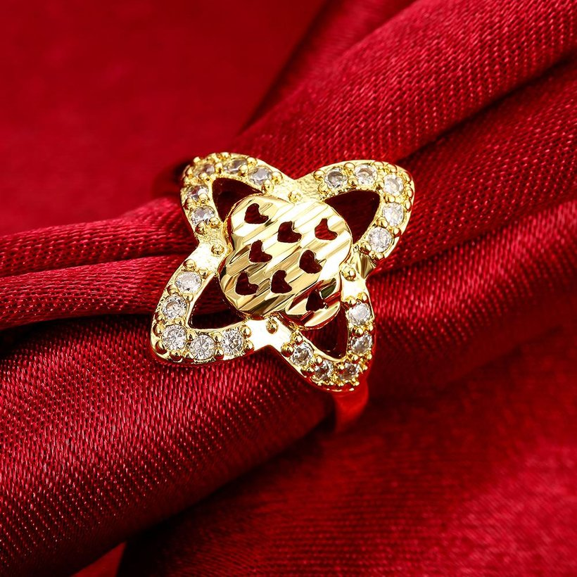 Wholesale Classic 24K Gold Heart White CZ Ring TGGPR279 0