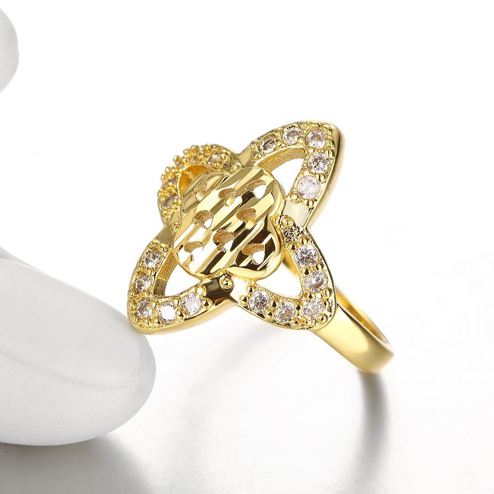 Wholesale Classic 24K Gold Heart White CZ Ring TGGPR279 1