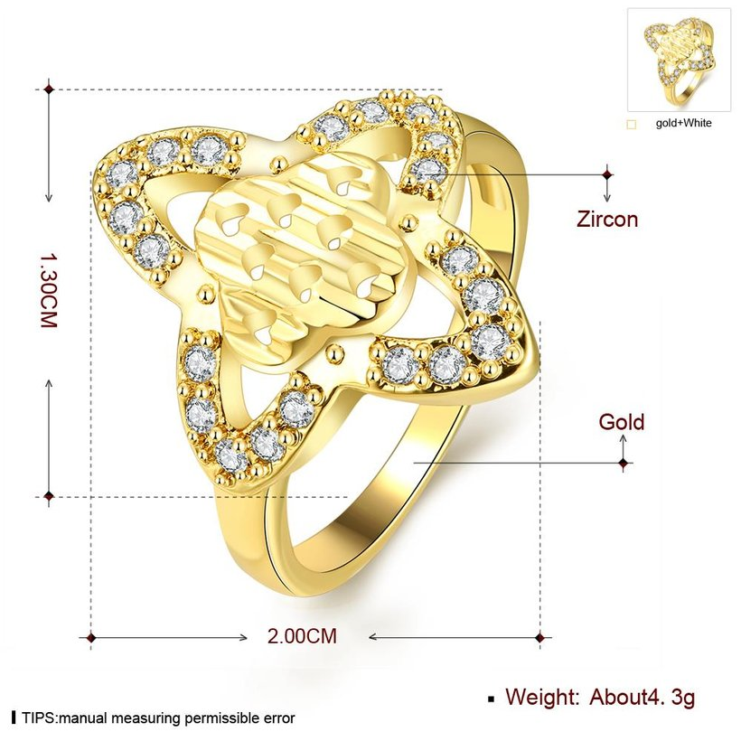 Wholesale Classic 24K Gold Heart White CZ Ring TGGPR279 2