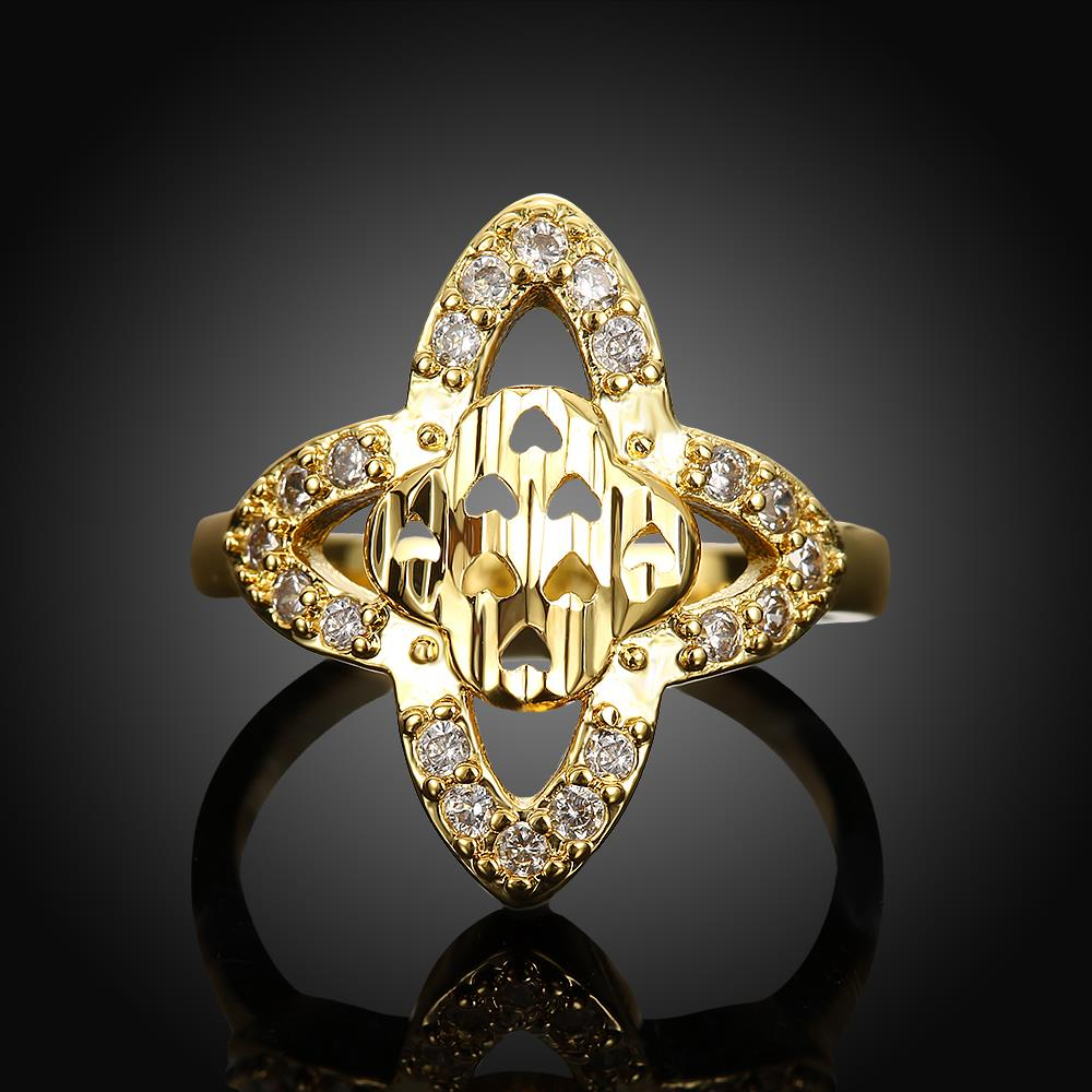 Wholesale Classic 24K Gold Heart White CZ Ring TGGPR279 3