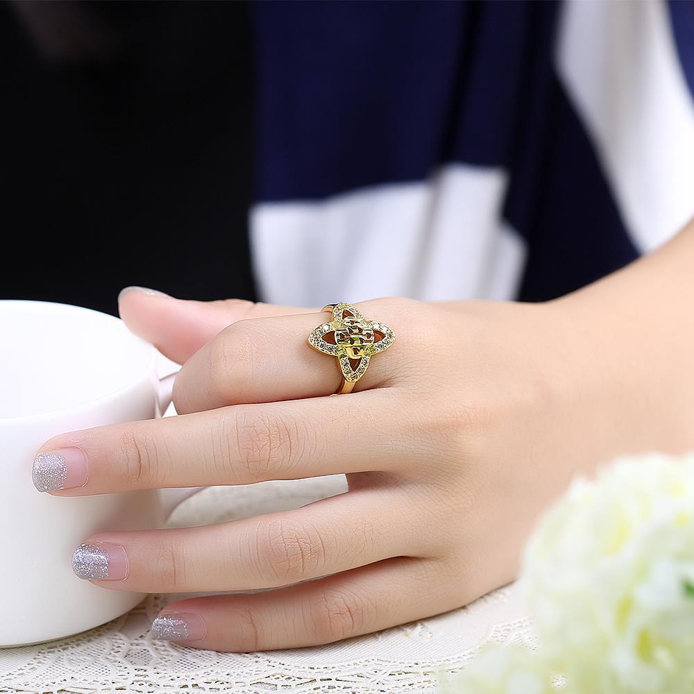 Wholesale Classic 24K Gold Heart White CZ Ring TGGPR279 4