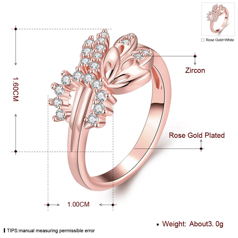 Wholesale Romantic Rose Gold Plant White CZ Ring TGGPR299 0